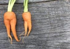 Оранжевая морковь младенца выглядеть как форма женщины на деревянных предпосылке и космосе Стоковая Фотография RF