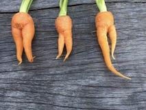 Оранжевая морковь младенца на деревянных предпосылке и космосе Стоковые Фотографии RF