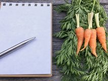 Оранжевая морковь младенца на зеленых предпосылке и тетради деревянного стола лист и ручка с Стоковое Изображение