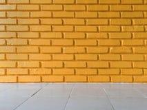 Оранжевая предпосылка текстуры кирпичной стены Стоковое Изображение
