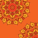 Оранжевая предпосылка вектора с орнаментальной мандалой Стоковая Фотография RF