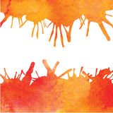 Оранжевая предпосылка краски акварели с помарками Стоковая Фотография