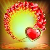 Оранжевая предпосылка с сердцами комплекта Стоковые Изображения RF