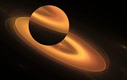 Оранжевая планета фрактали на черной предпосылке Стоковая Фотография RF