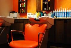 Оранжевая станция мытья салона Стоковая Фотография