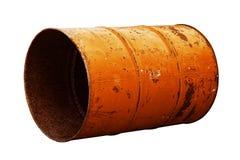 Оранжевая старая ржавчины масла бочонка изолированная на белой предпосылке Стоковое Изображение RF