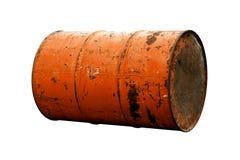 Оранжевая старая ржавчины масла бочонка изолированная на белой предпосылке Стоковые Изображения RF