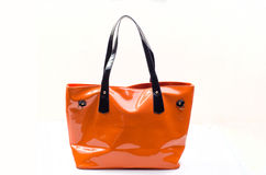 Оранжевая сумка женщин стоковое изображение rf