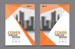 Оранжевая цветовая схема с шаблоном дизайна крышки торговой книги предпосылки города в A4 Стоковые Изображения RF