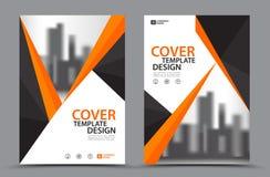 Оранжевая цветовая схема с шаблоном дизайна крышки торговой книги предпосылки города в A4 План рогульки брошюры Годовой отчет Стоковые Изображения RF