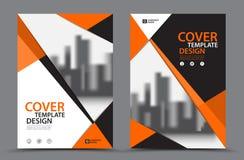 Оранжевая цветовая схема с шаблоном дизайна крышки торговой книги предпосылки города в A4 План рогульки брошюры Годовой отчет Стоковая Фотография RF