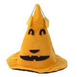 Оранжевая шляпа ведьмы ткани на хеллоуин Стоковое Фото