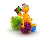 Оранжевое Гай: Угадывающ что в подарке на рождество Стоковое Изображение RF