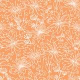 Оранжевое и белое lineart цветет безшовная картина Стоковые Изображения RF
