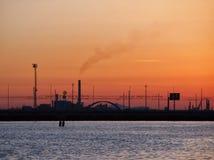 Оранжевое небо захода солнца на лагуне Венеции Стоковая Фотография RF