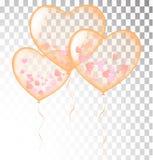 Оранжевое сердце раздувает прозрачный шаблон знамени, предпосылка V иллюстрация штока