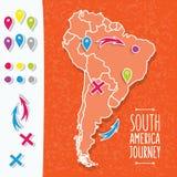 Оранжевой нарисованная рукой карта Южной Америки с штырями карты иллюстрация штока