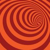 Оранжевой Striped спиралью абстрактная предпосылка тоннеля Стоковое Фото
