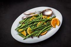 Оранжевые зеленые фасоли стоковые фотографии rf