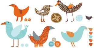 Оранжевые и голубые установленные птицы Иллюстрация вектора