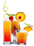 Оранжевые коктеили при плодоовощи изолированные на белизне Стоковое Изображение RF