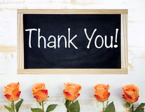 Оранжевые розы и черная доска с словами спасибо Стоковое фото RF