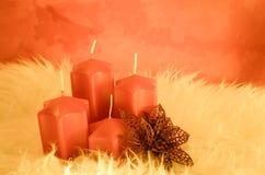 Оранжевые свечи пришествия Стоковая Фотография