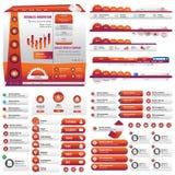Оранжевые статистик пользовательского интерфейса Стоковое фото RF