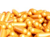 Оранжевые таблетки капсулы пилюлек иллюстрация штока