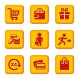 Оранжевые установленные значки покупок вектор бесплатная иллюстрация