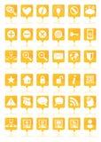 Оранжевые установленные значки сети стоковая фотография