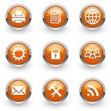 Оранжевые установленные значки Стоковые Изображения RF