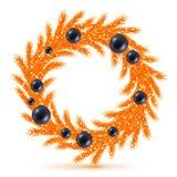 Оранжевый венок рождественской елки с украшениями Стоковое Изображение