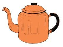 Оранжевый винтажный чайник Стоковая Фотография RF