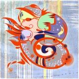 Оранжевый дракон слитый с moustached профилем человека Стоковое Изображение RF