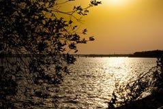 оранжевый заход солнца лета на реке стоковые изображения rf