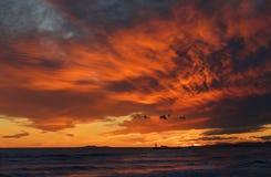 Оранжевый заход солнца в Каталонии Стоковая Фотография RF