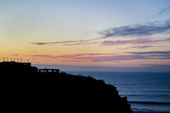 Оранжевый заход солнца на пляже Стоковые Фотографии RF