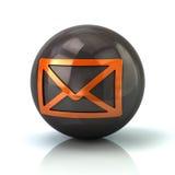 Оранжевый значок почты на черной лоснистой сфере бесплатная иллюстрация
