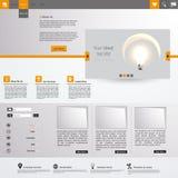 Оранжевый и серый дизайн шаблона вебсайта Стоковые Фотографии RF