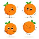 Оранжевый Милый набор символов плодоовощ изолированный на белизне Стоковые Изображения RF