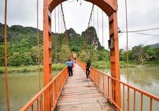 Оранжевый мост Vang Vieng Лаос Стоковая Фотография