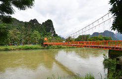 Оранжевый мост Vang Vieng Лаос Стоковые Изображения