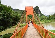 Оранжевый мост Vang Vieng Лаос Стоковое Изображение RF