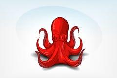 оранжевый осьминог с тенью Конец нарисованный рукой оригинала u Стоковое Изображение