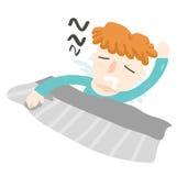 Оранжевый поворот сна мальчика волос лицевой Стоковое фото RF