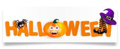 Оранжевый помечая буквами хеллоуин с тыквой с счастливой стороной, пауком, фиолетовой шляпой ведьмы и ногами при striped чулки из иллюстрация штока