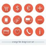 Оранжевый плоский комплект значка дизайна Стоковые Изображения