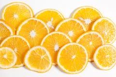 Оранжевый плодоовощ в разделе в белой воде Стоковые Фотографии RF