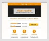 Оранжевый современный шаблон вебсайта Стоковое Изображение